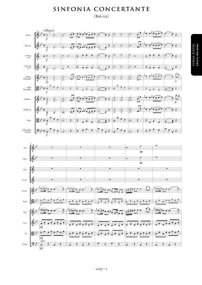 Ignaz Pleyel: Sinfonia Concertante in B flat major – Sheet Music