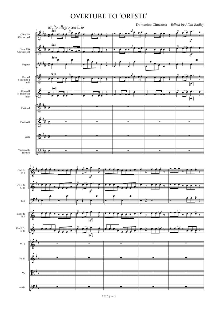 All Music Chords 1812 overture music sheet : Domenico Cimarosa: Overture to Oreste – Sheet Music
