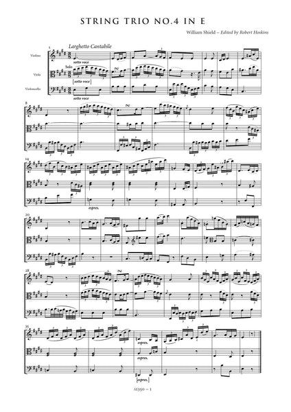 Shield, William: String Trio No. 4 in E major (AE350)
