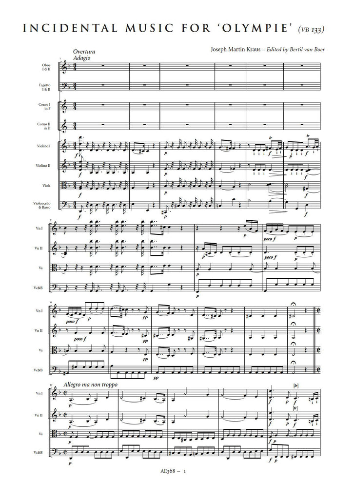All Music Chords 1812 overture music sheet : Joseph Martin Kraus: Incidental Music to Olympie – Sheet Music