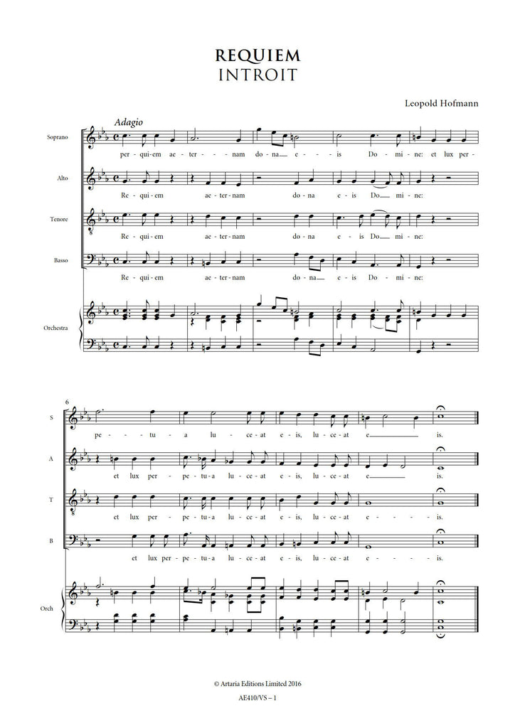 All Music Chords last date sheet music : Leopold Hofmann: Requiem in C minor – Sheet Music