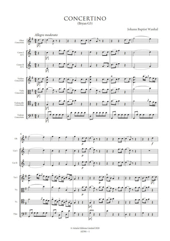Wanhal, Johann Baptist: Concertino in G major (Bryan G5) (AE504)