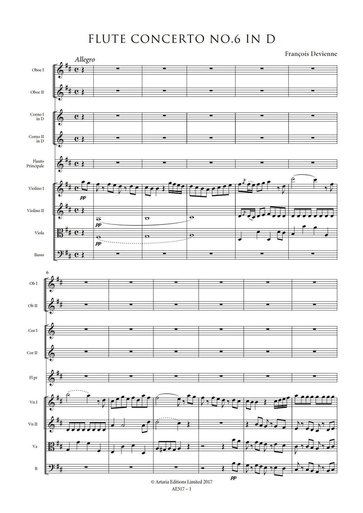 Fran̤ois Devienne: Flute Concerto No. 6 in G major РSheet Music