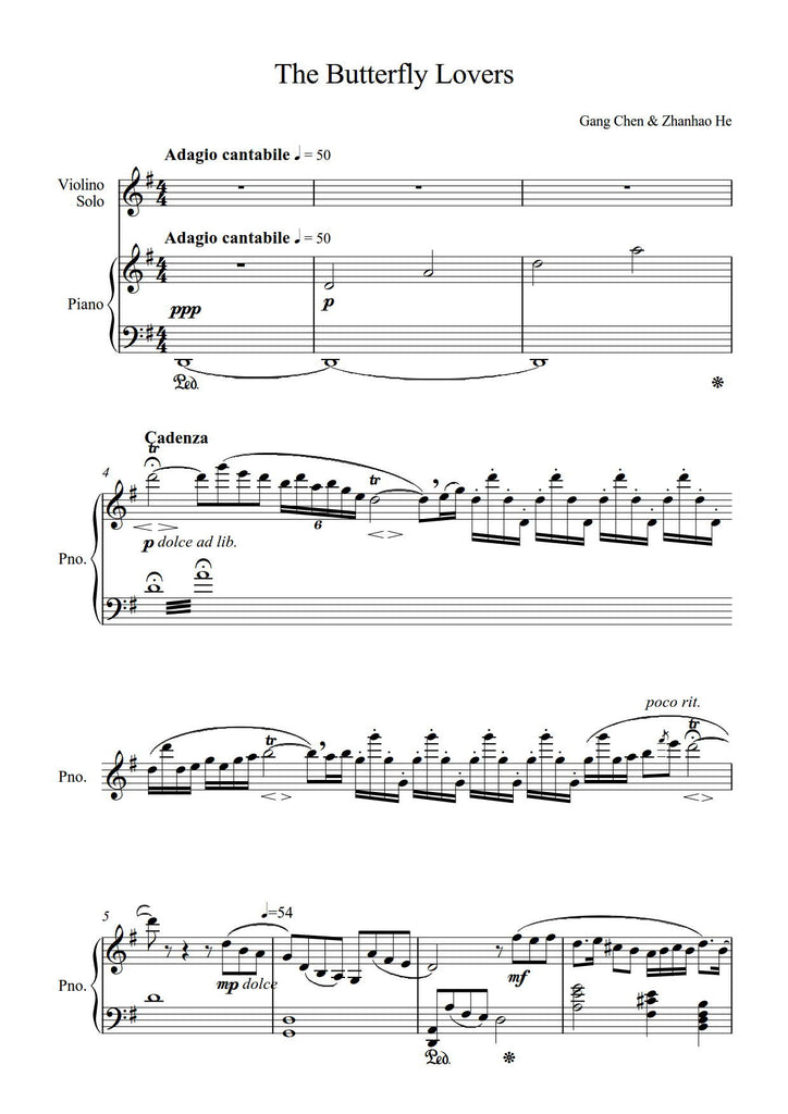 Gang, Chen & Zhanhao, He: The Butterfly Lovers (arr  for violin & piano)  (AEGC11)