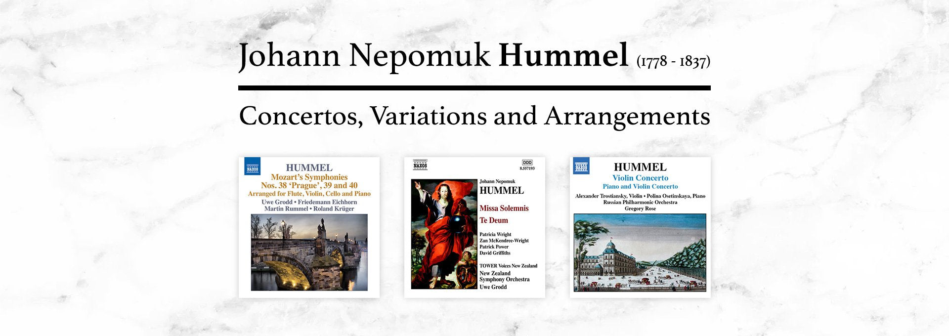 Johann Nepomuk Hummel Concertos, Variations and Arrangements