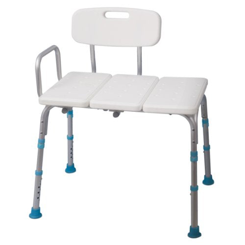 Adjustable  Shower Transfer Bench with Reversible Backrest