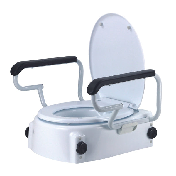 Raised Toilet Seat with detachable Armrest