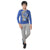 Genius Boys Full Sleeves T-Shirt With Jogger Pant,Royal Blue/Grey
