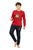 Genius Boys Full Sleeves Sweat Shirt With Track Pant,Red/Black