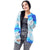 Step N Style Women Full Sleeve Cardigan, Multi Blue