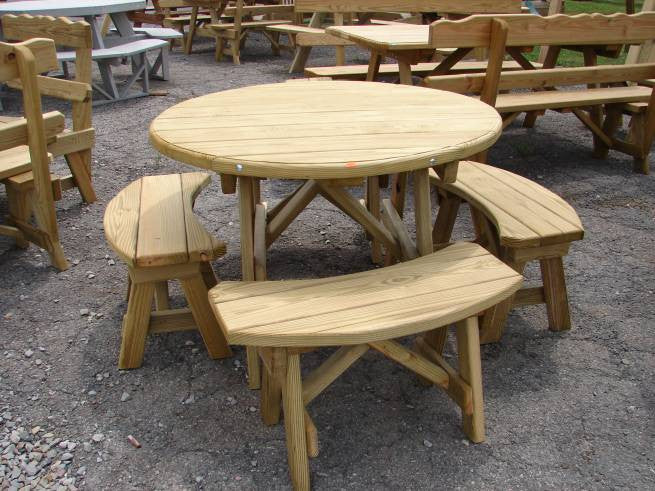 Wooden Round Table Set