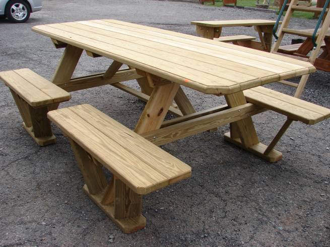 Wooden SplitBench Picnic Table Kauffman Family Marketplace - 96 picnic table