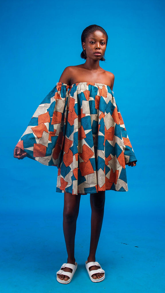 Neyruus African Print Off Shoulder Dress