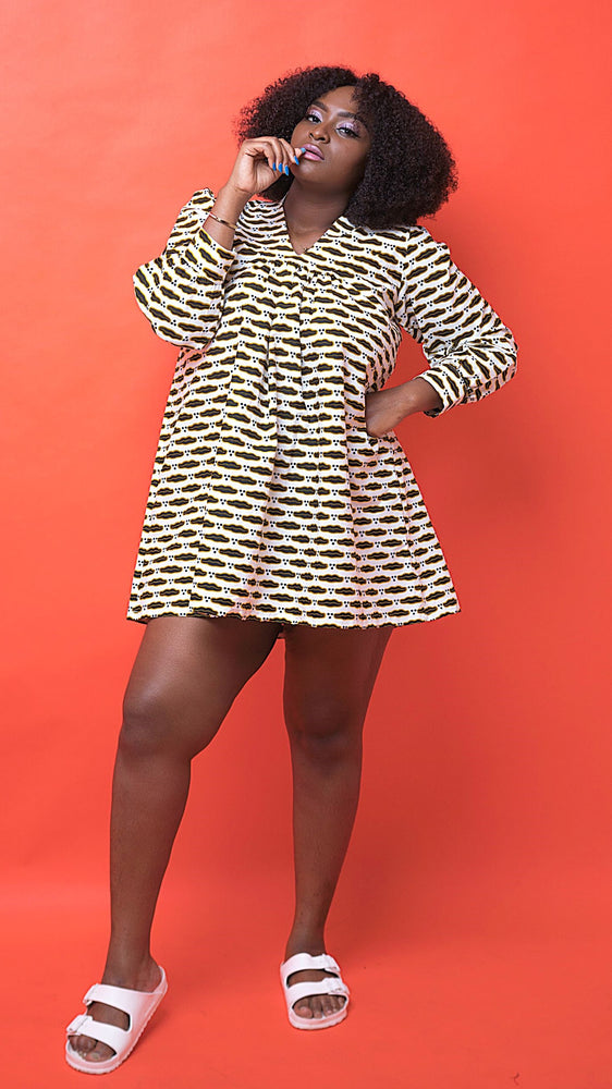 Niah African Print Shirt Dress