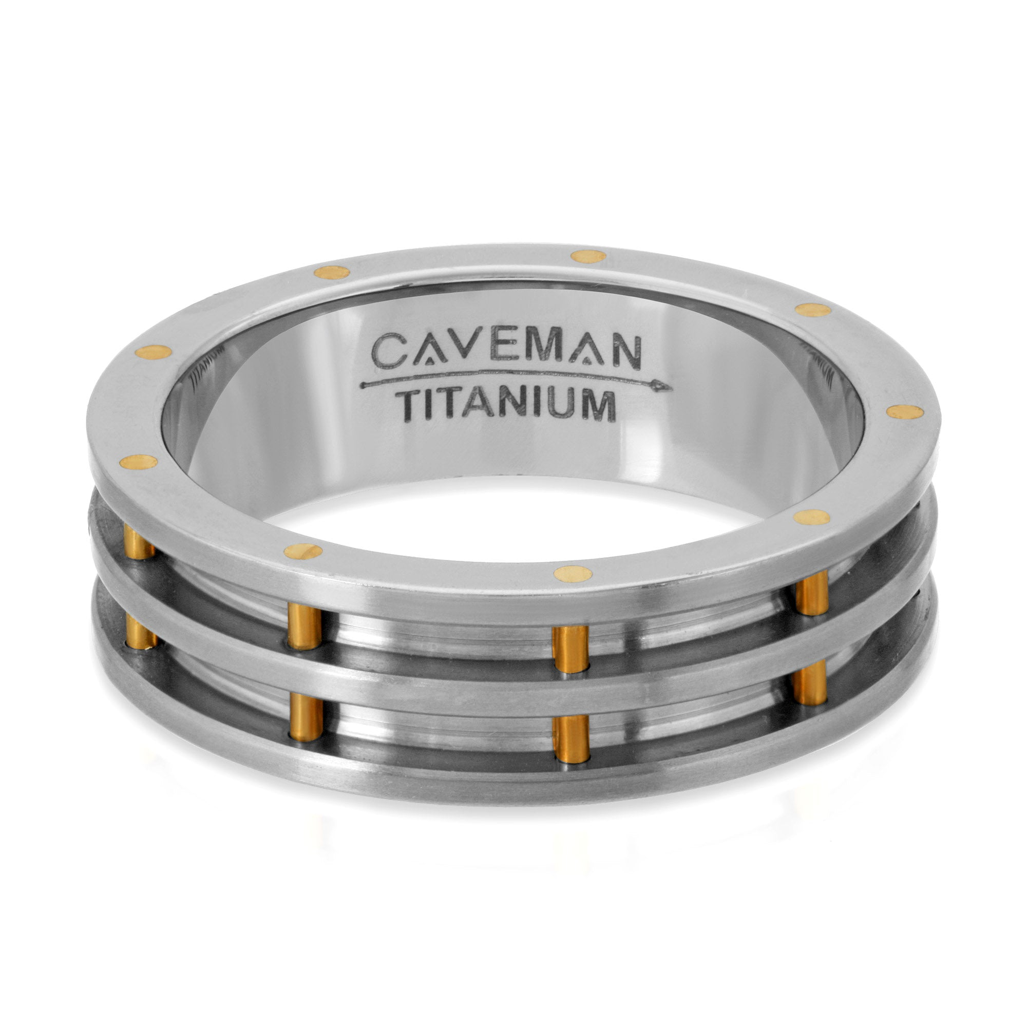 Aerospace Titanium and Brass Wedding Band