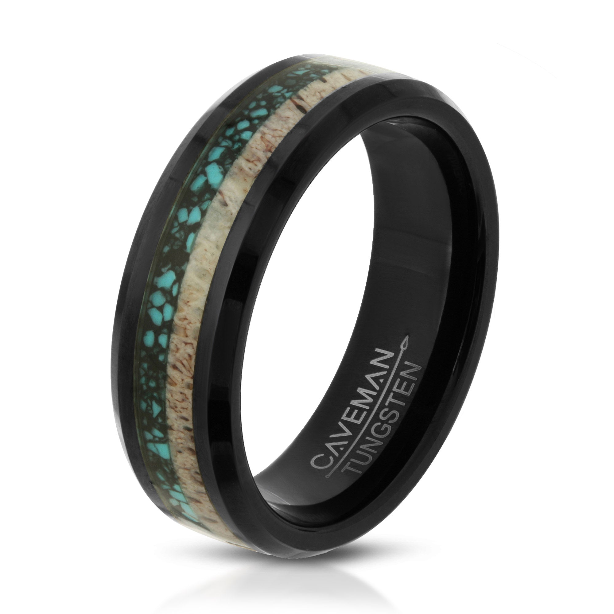 Antler Crushed Turquoise Tungsten Black Wedding Band