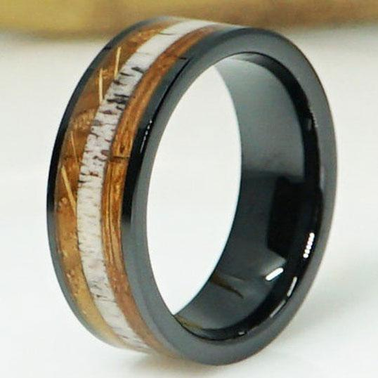 Whisky Barrel Deer Antler Inlay Black Ceramic Wedding Band