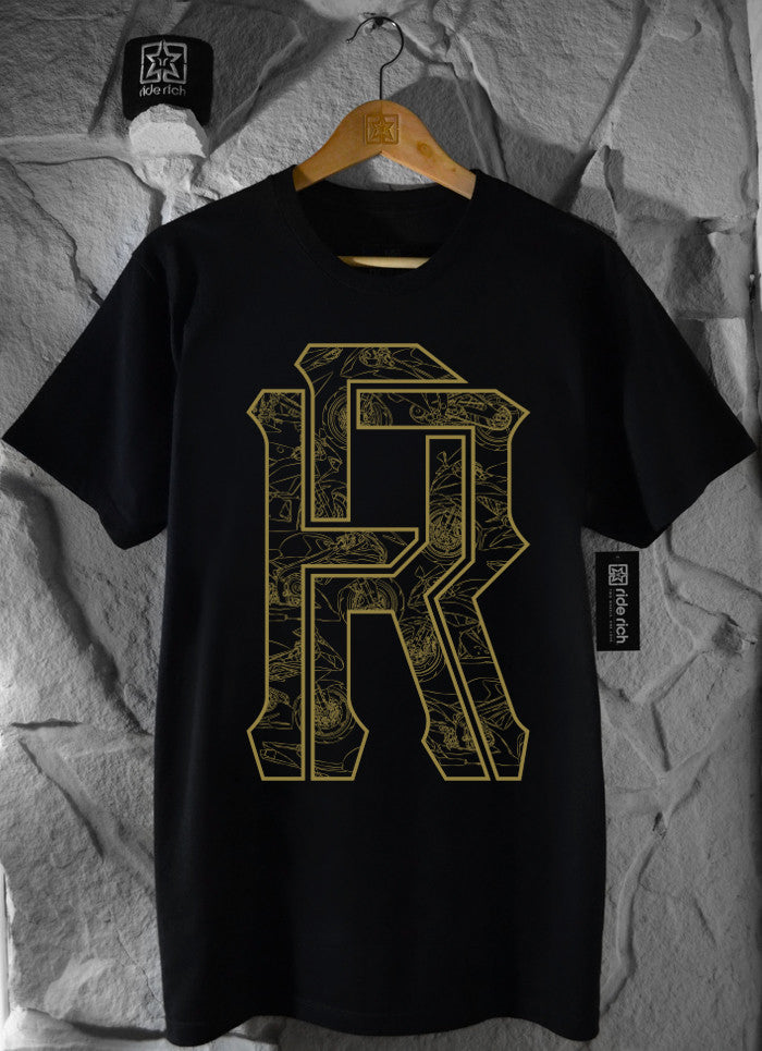 The 600 Club Gold on Black Tee View 2 - Motorcycle T-shirt