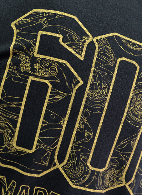 The 600 Club Gold on Black Tee View 8 - Motorcycle T-shirt