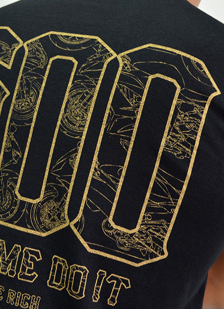 The 600 Club Gold on Black Tee View 9 - Motorcycle T-shirt