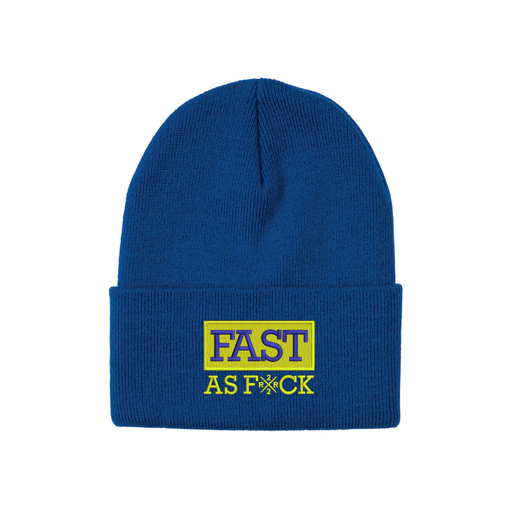 Been Fast Knit Beanie {Blue/Yellow}