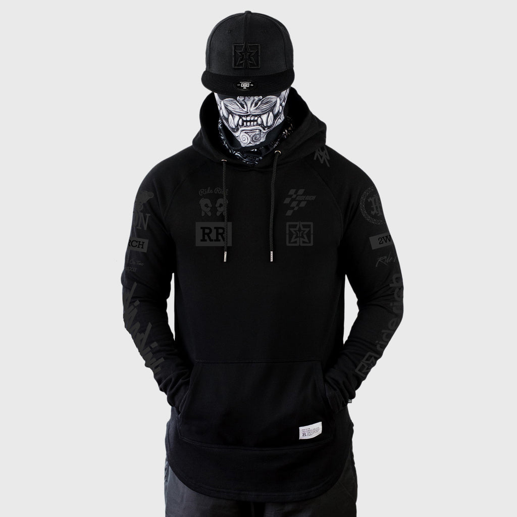 Branded V2 Scoop Pullover Hoodie {Black on Black}