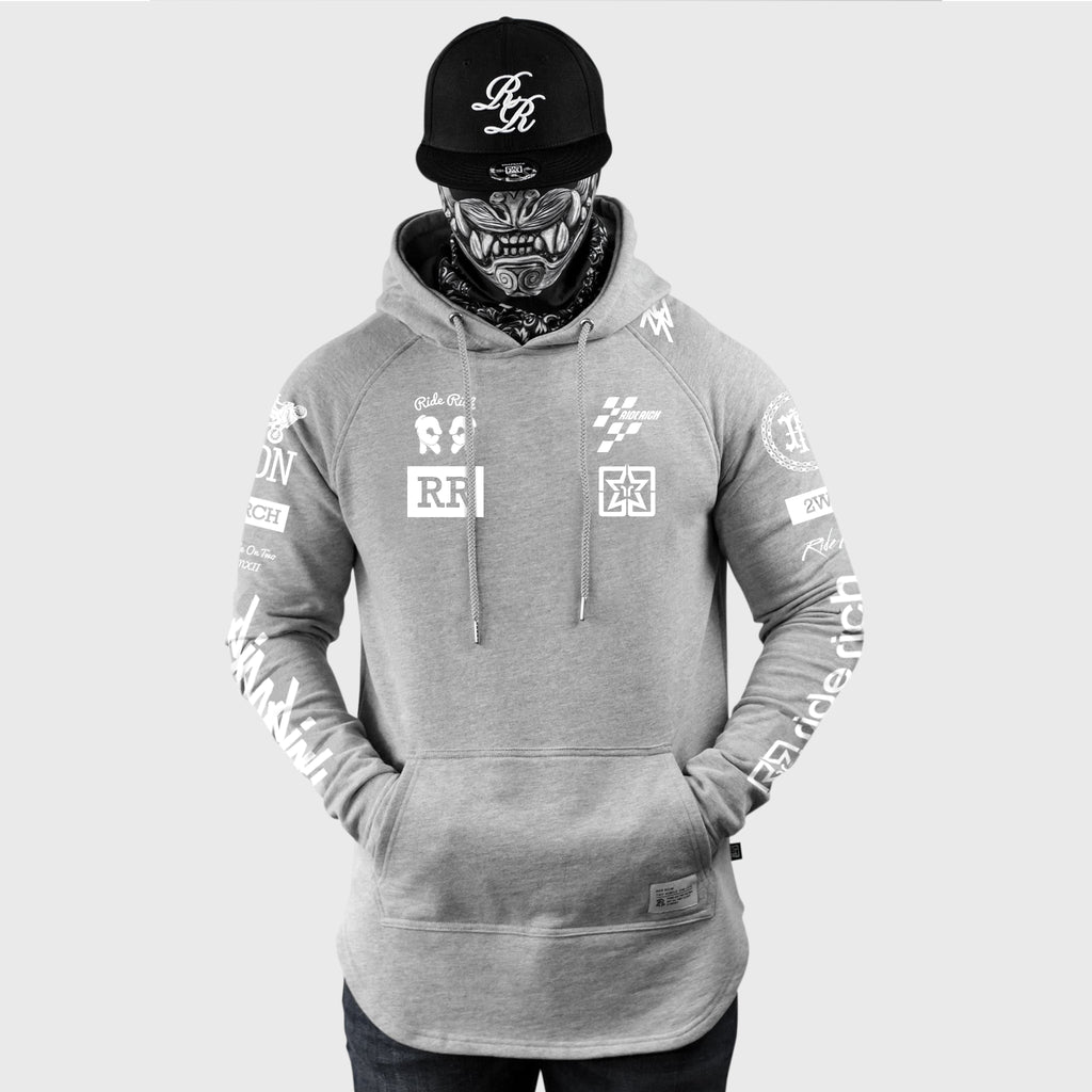 Branded V2 Scoop Pullover Hoodie {White on Heather Grey}