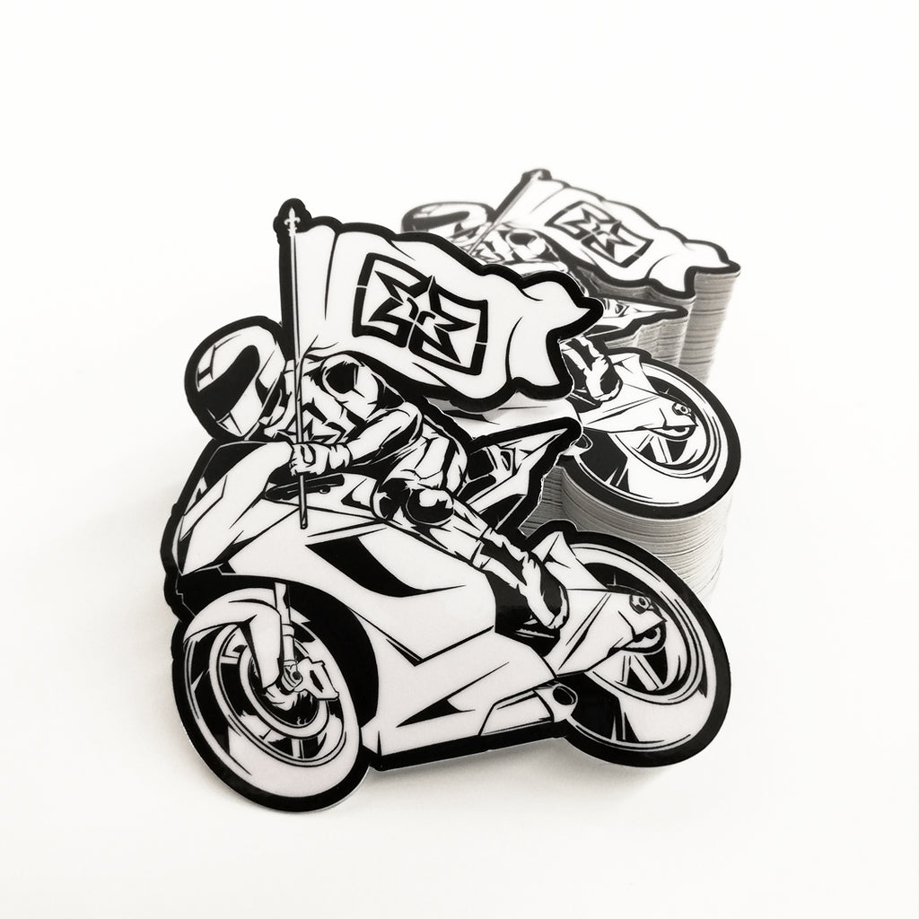 Ride Rich Like Champions Vinyl Sticker {White}