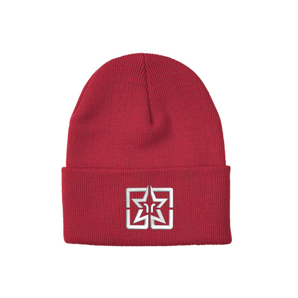 Ride Rich Emblem Knit Beanie {Red}