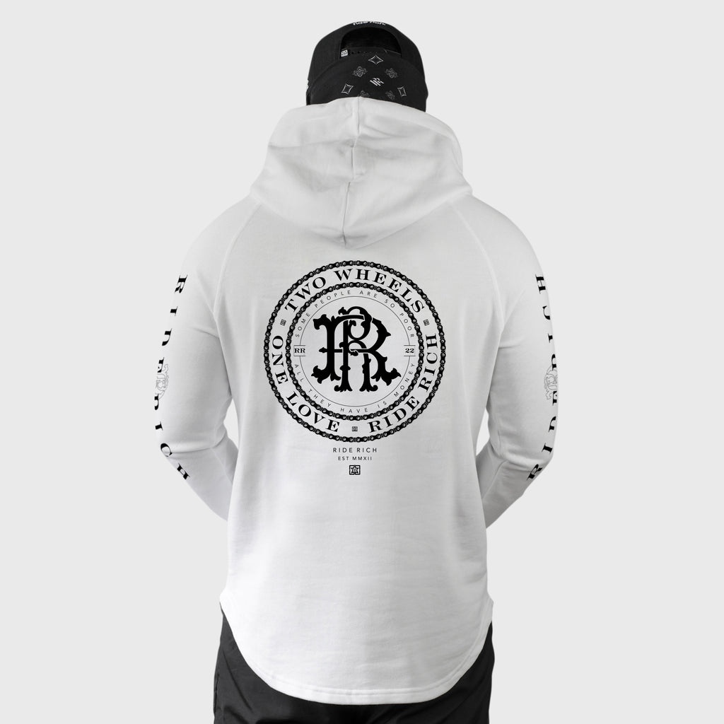 RR Filigree & Chains Scoop Pullover Hoodie {White}