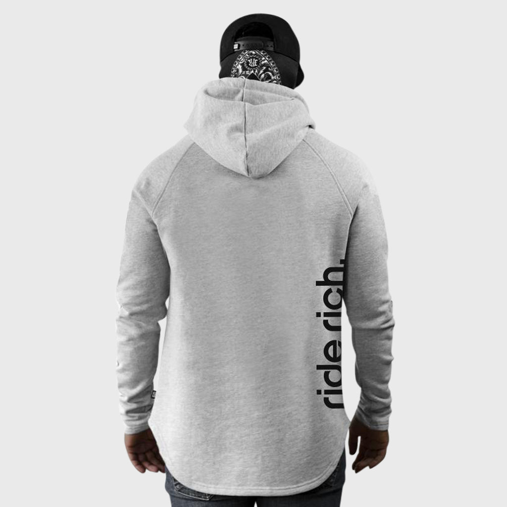 Ride Rich Emblem Scoop Pullover Hoodie {Heather Grey}