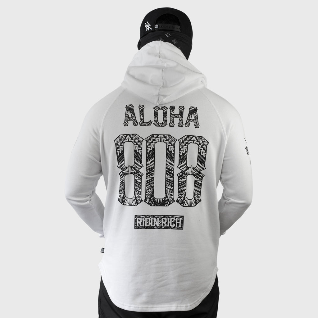 Home Grown 808 Edition Scoop Pullover Hoodie {White}