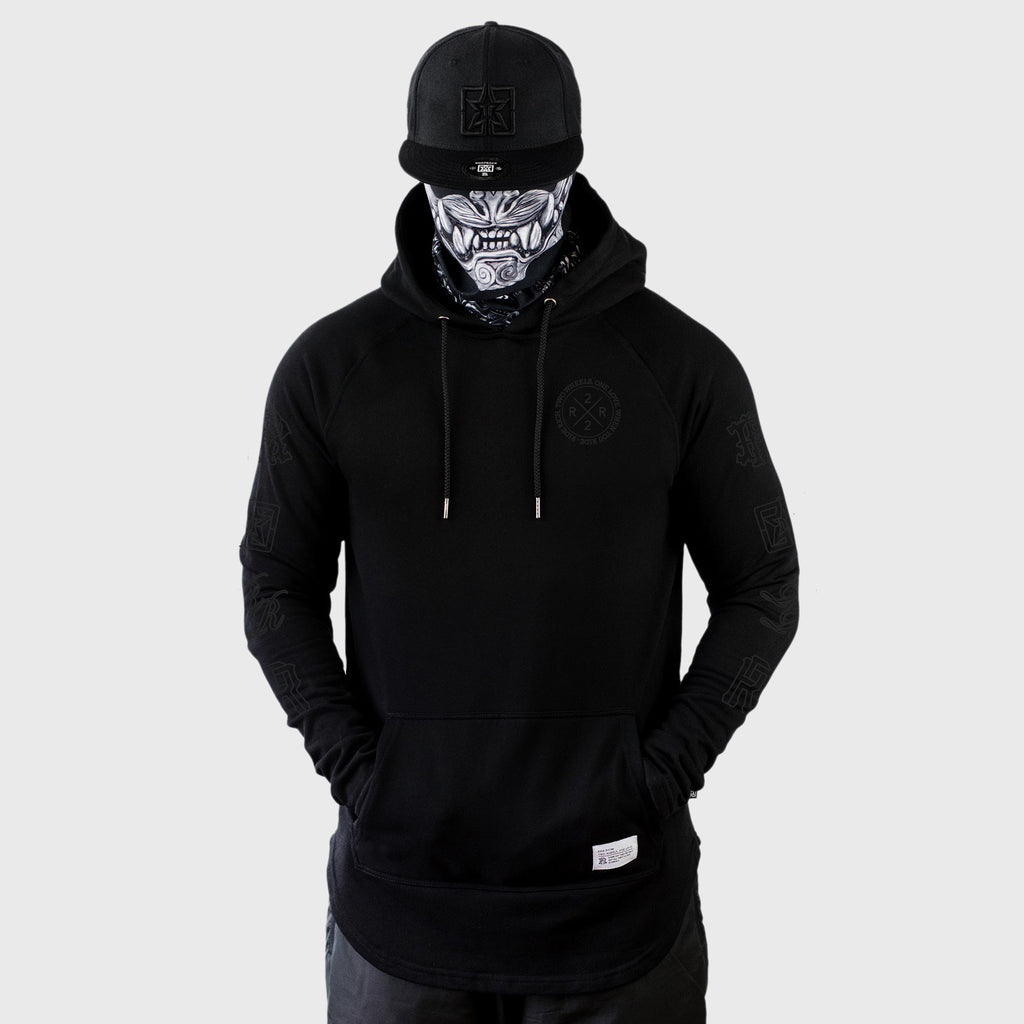 The Motto Scoop Pullover Hoodie {Black on Black}