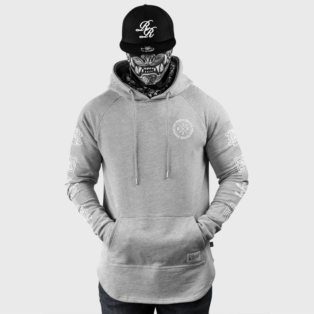 The Motto Scoop Pullover Hoodie {White on Heather Grey}