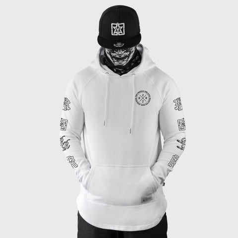 The Motto Scoop Pullover Hoodie {White}