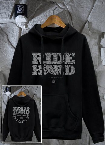 Ride Hard Cracked Concrete Pullover Hoodie 1