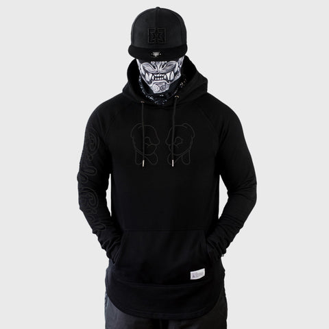 Rep Life On Two {Outline} Scoop Pullover Hoodie {Black on Black}