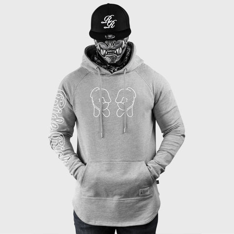 Rep Life On Two {Outline} Scoop Pullover Hoodie {White on Heather Grey}