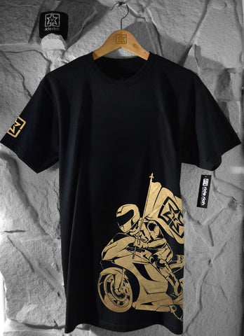 Ride Rich Like Champions Tee {Gold} View 1 - Men's Motorcycle T-shirt