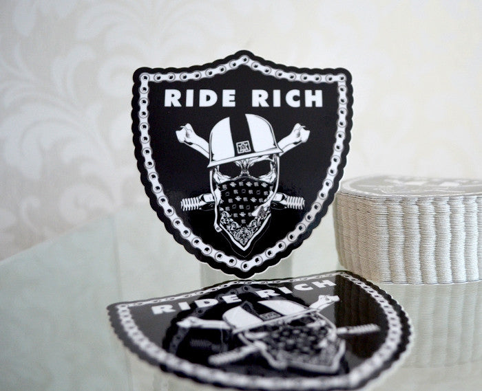 Ride Rich Crest {Medium} - Vinyl Motorcycle Sticker