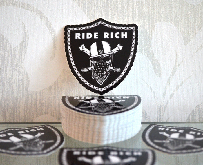 Ride Rich Crest {Small} - Vinyl Motorcycle Sticker