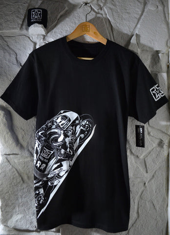Gear Up & Ride Rich {Black} View 1 - Men's Motorcycle T-shirt