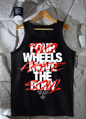 Ride Rich Ride Free Tank {Hyper Red} View 1 - Motorcycle Tank Top