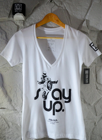 Stay Up Like Wheelies V-Neck {White} View 1 - Women's T-shirt
