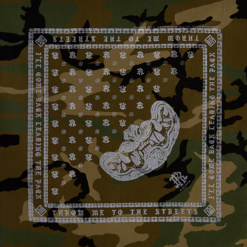 Savage Bandana {3M Reflective Ink/Woodland Camo}