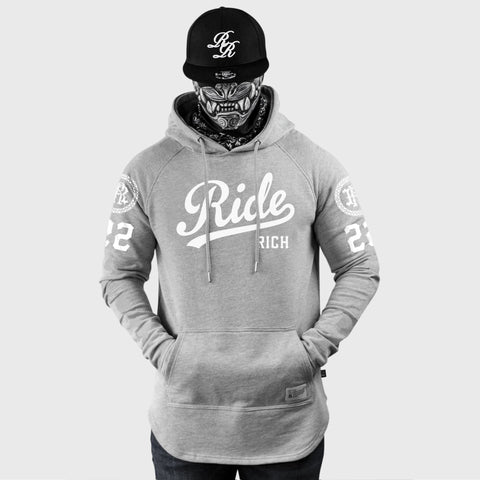 RR Squad Scoop Pullover Hoodie {White on Heather Grey}