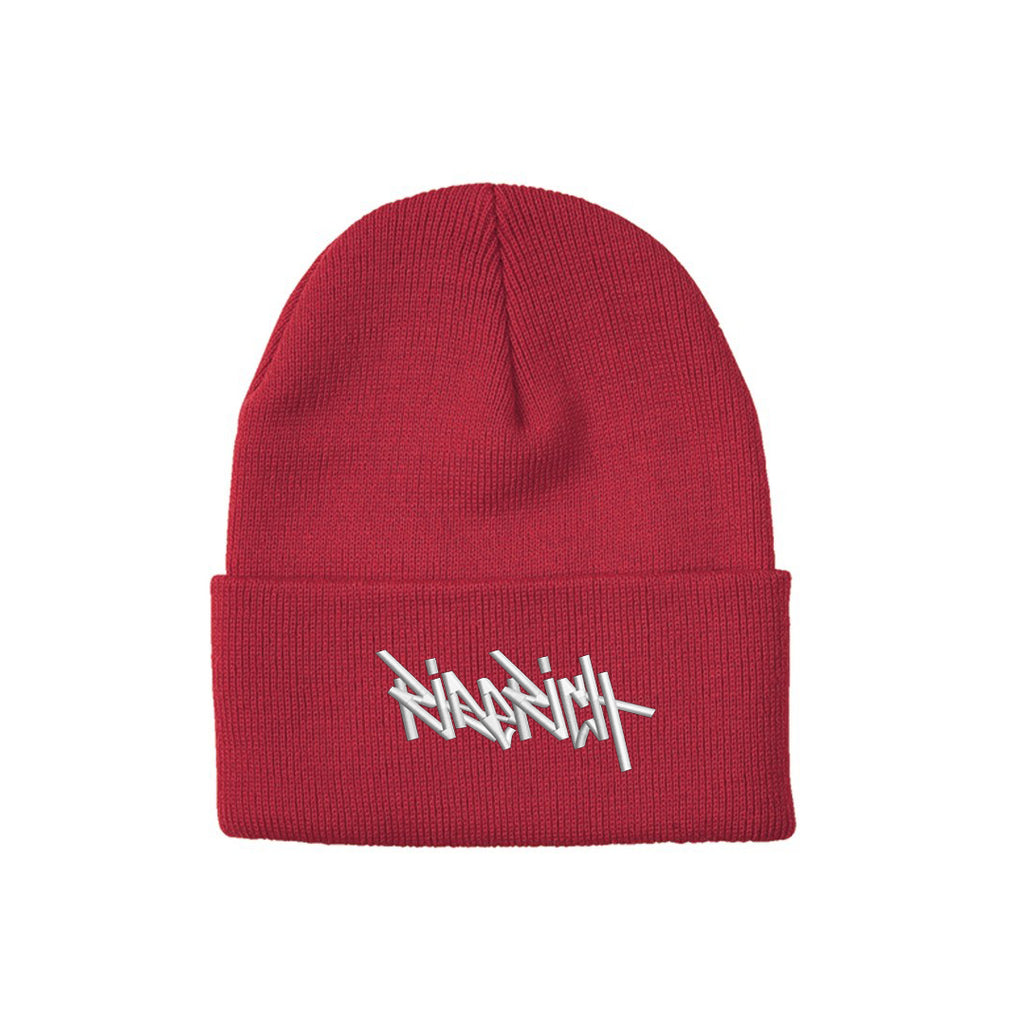 Ride Rich Tag Knit Beanie {Red}