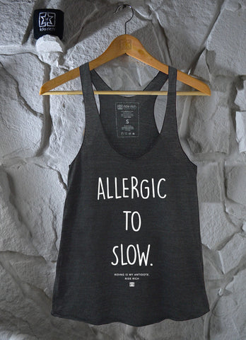 Allergic to Slow Charcoal Grey Racerback Tank View 3 - Motorcycle Racerback Tank