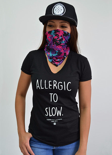 Allergic to Slow V-Neck Tee View 1 - Motorcycle T-Shirt