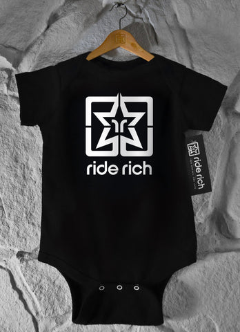 White Emblem Bodysuit View 1 - Motorcycle Baby Clothing
